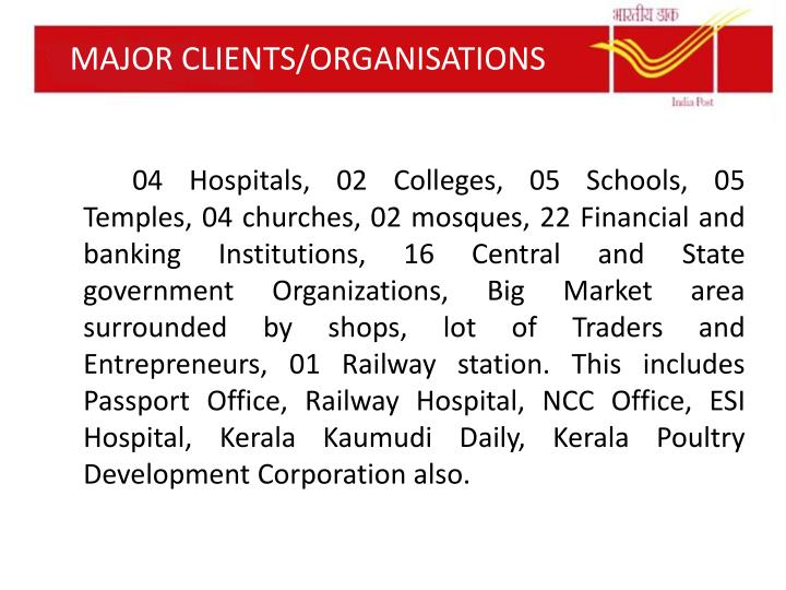 MAJOR CLIENTS/ORGANISATIONS
