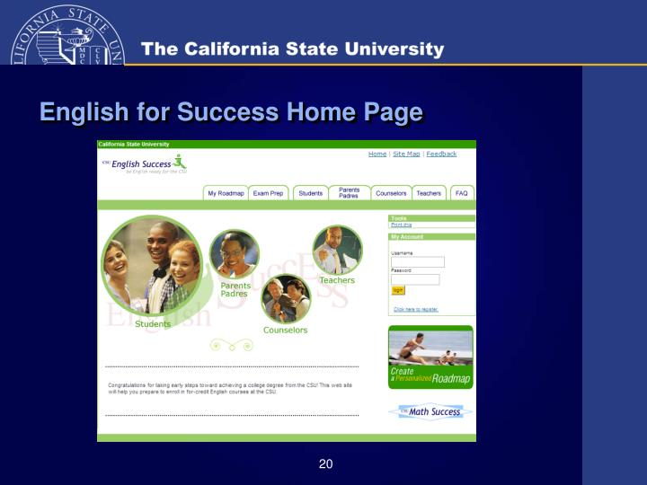 English for Success Home Page