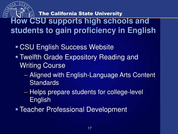 How CSU supports high schools and students to gain proficiency in English