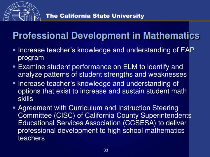 Professional Development in Mathematics