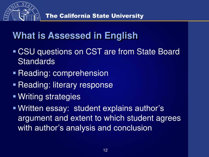What is Assessed in English