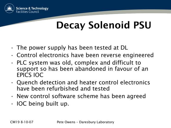 Decay Solenoid PSU