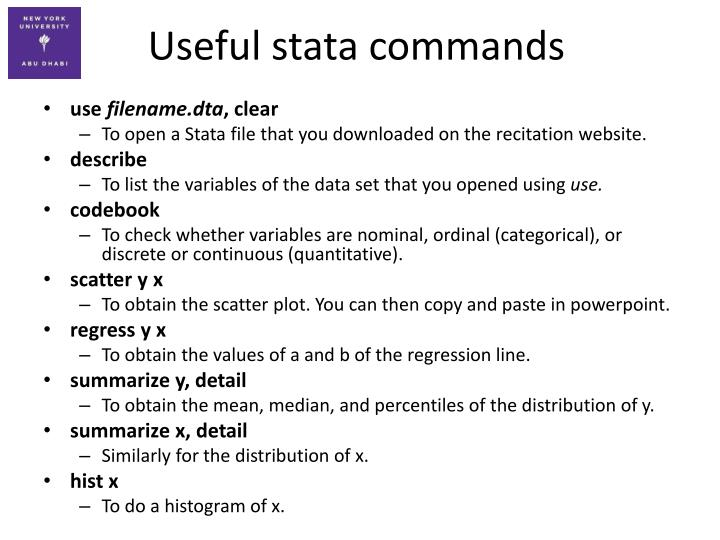 Useful stata commands