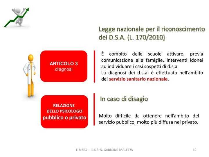 Legge nazionale per il riconoscimento dei D.S.A. (L. 170/2010)