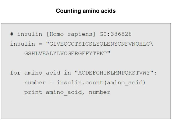 Counting amino acids