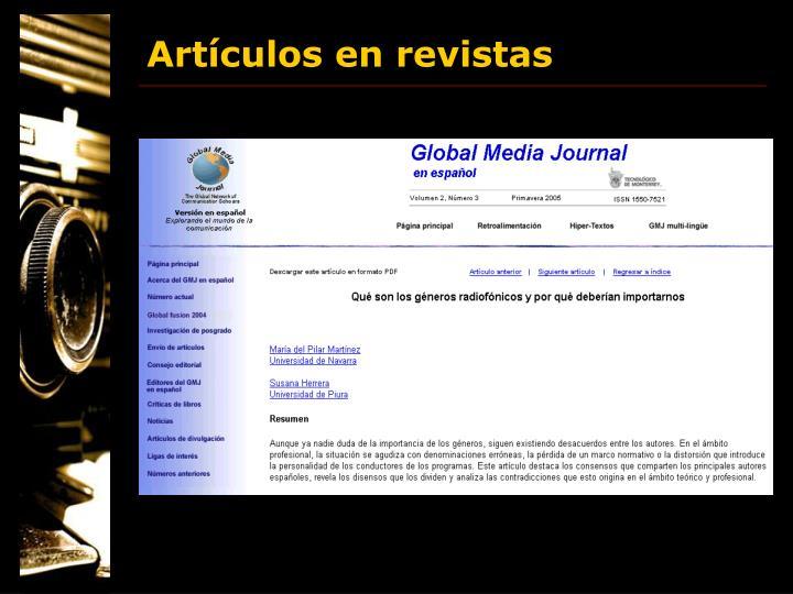 Artículos en revistas