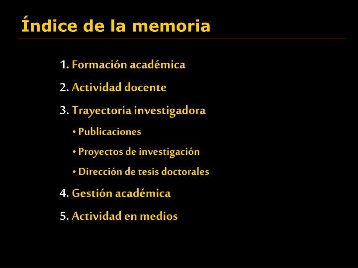 Índice de la memoria
