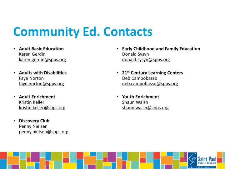 Community Ed. Contacts