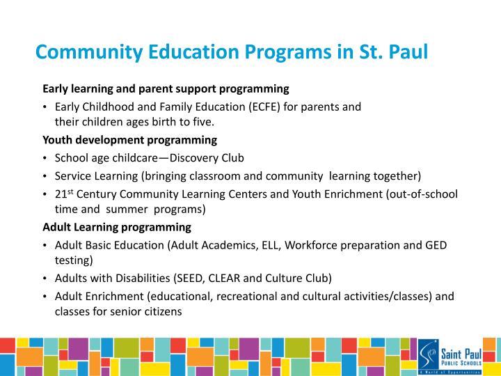 Community Education Programs in St. Paul