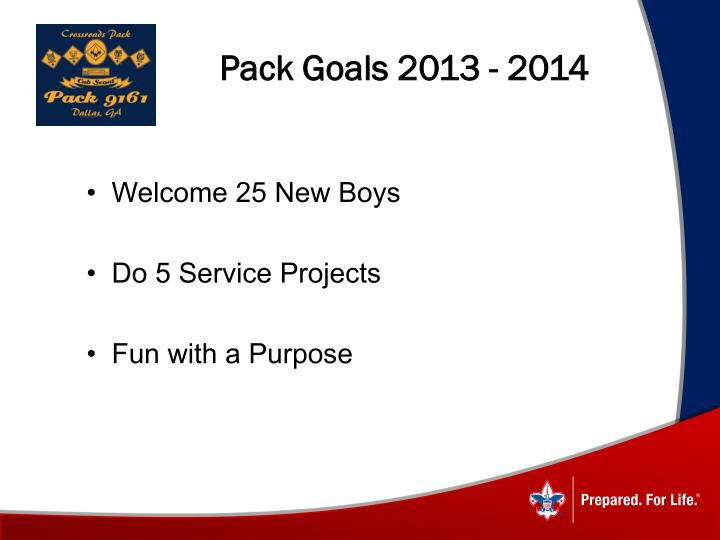 Pack Goals 2013 - 2014
