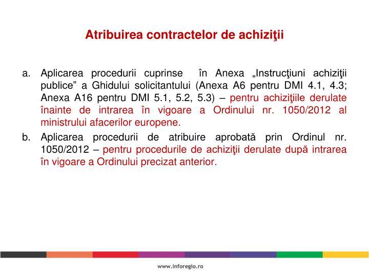 Atribuirea contractelor de achizi
