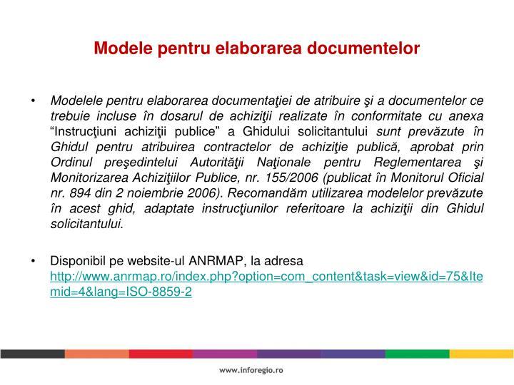 Modele pentru elaborarea documentelor