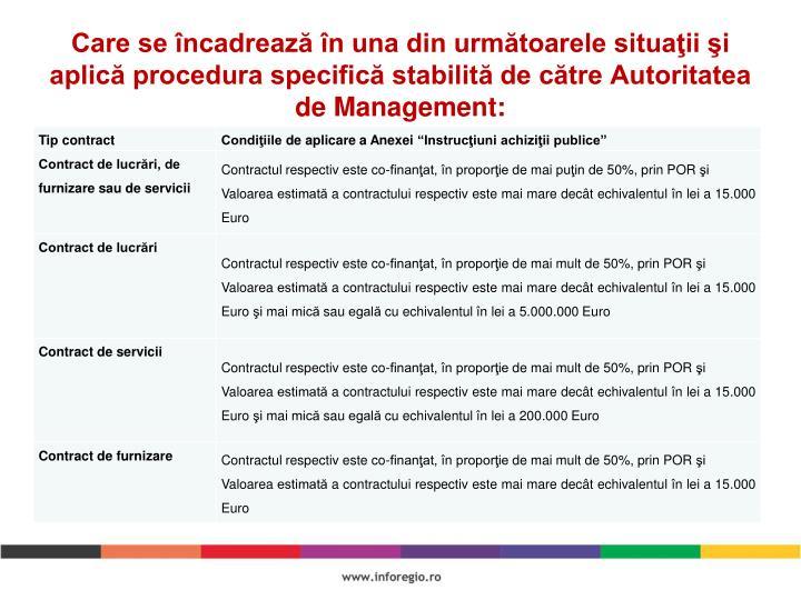 Care se încadrează în una din următoarele situaţii şi aplică procedura specifică stabilită de către Autoritatea de Management: