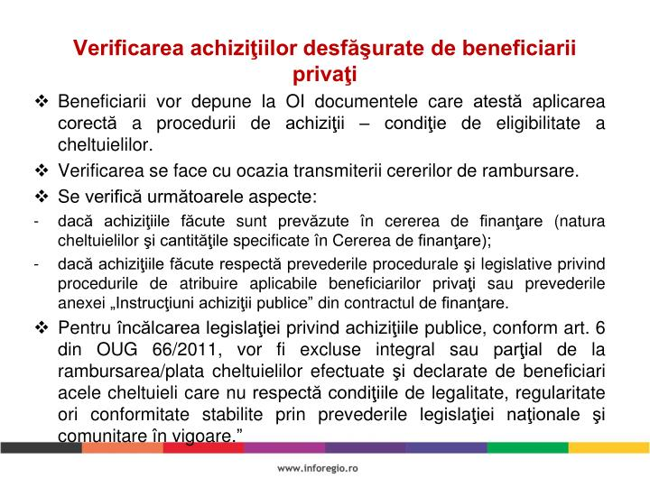 Verificarea achiziţiilor desfăşurate de beneficiarii privaţi