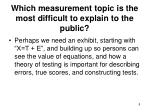 which measurement topic is the most difficult to explain to the public1