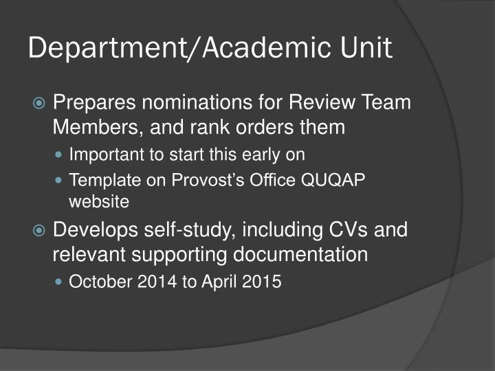 Department/Academic Unit