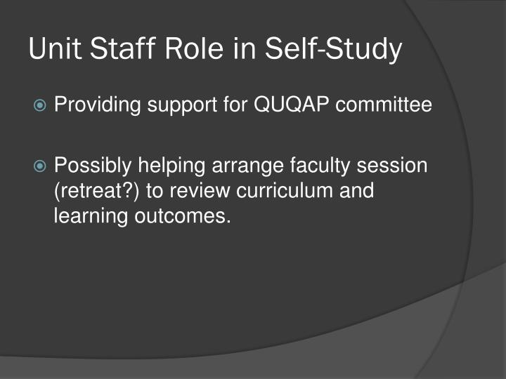 Unit Staff Role in Self-Study