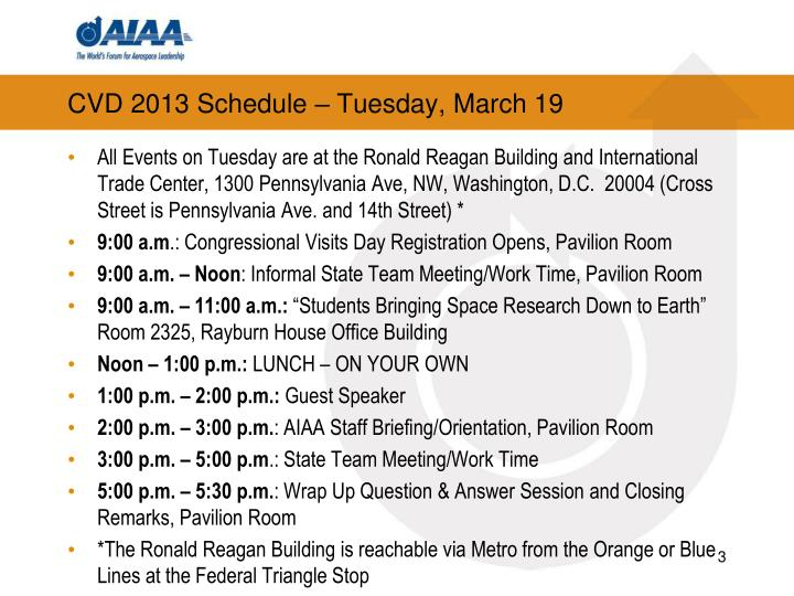 CVD 2013 Schedule – Tuesday, March 19