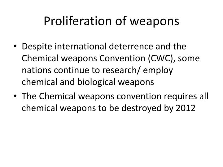 Proliferation of weapons