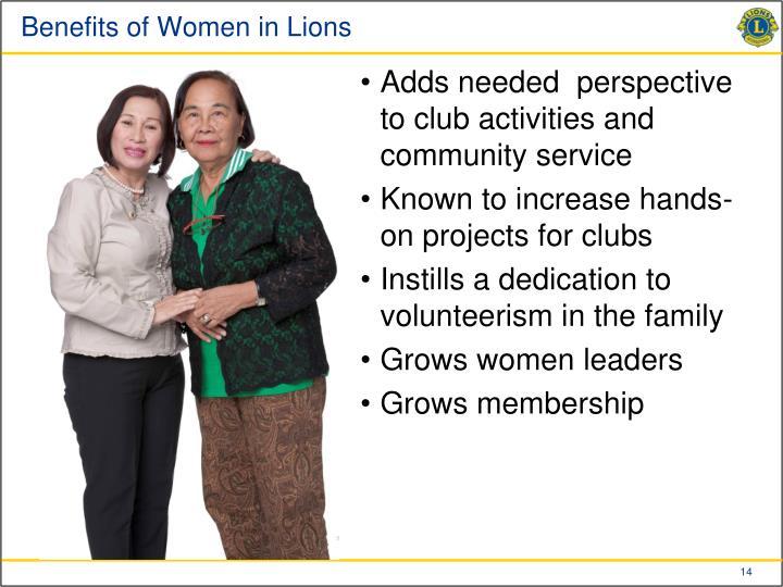 Benefits of Women in Lions