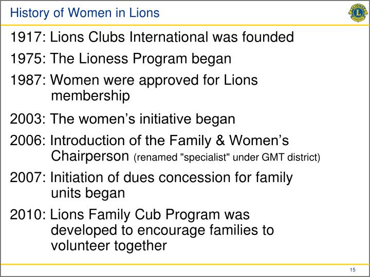 History of Women in Lions