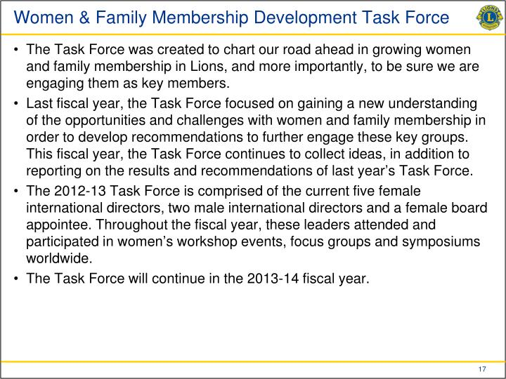 Women & Family Membership Development Task Force