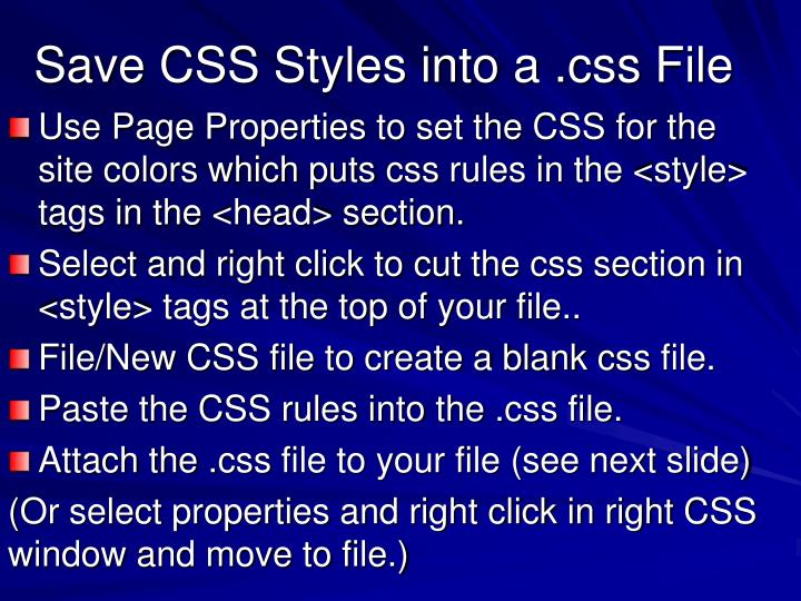 Save CSS Styles into a .