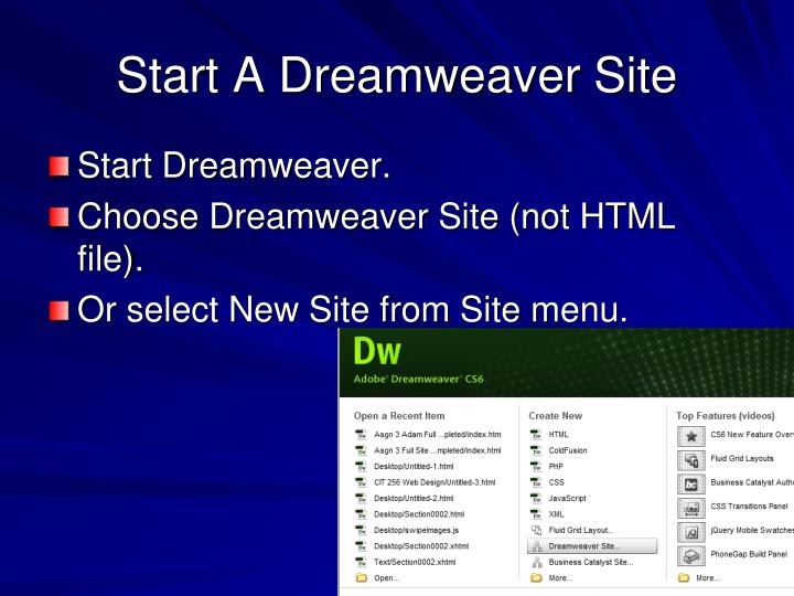 Start A Dreamweaver Site