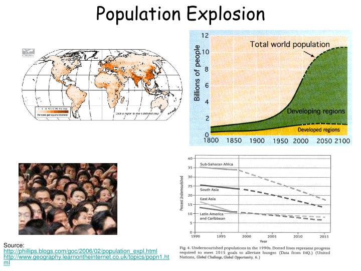 a look at the population explosion The population explosion according to the population reference bureau, in 1991, there were about 54 billion people in the world the global birth to death rate was 27/9, meaning that for every person that dies, three more babies are born.