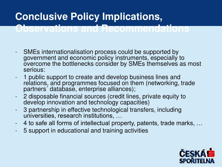 Conclusive Policy Implications
