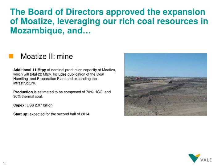 The Board of Directors approved the expansion of Moatize, leveraging our rich coal resources in Mozambique, and…