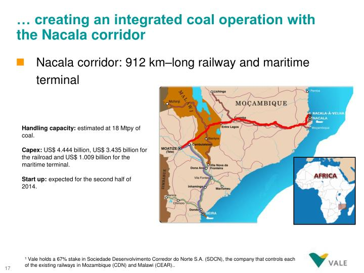 … creating an integrated coal operation with the Nacala corridor