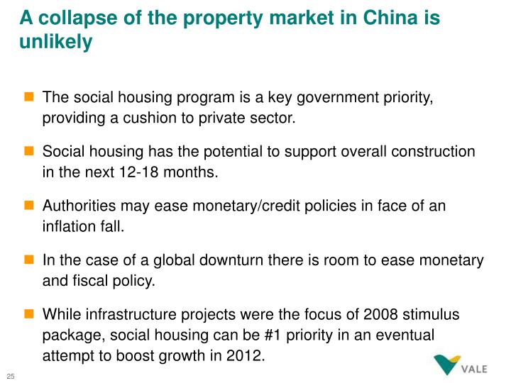 A collapse of the property market in China is unlikely