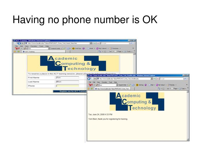 Having no phone number is OK