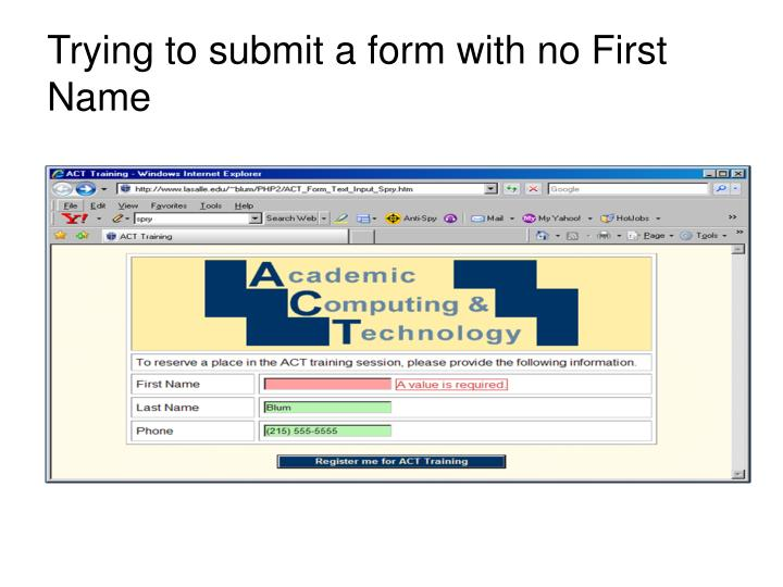 Trying to submit a form with no First Name