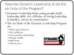 describe dynamic leadership list the six units of the program