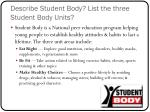 describe student body list the three student body units