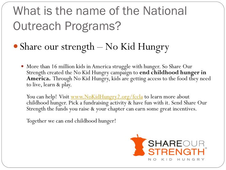 What is the name of the national outreach programs