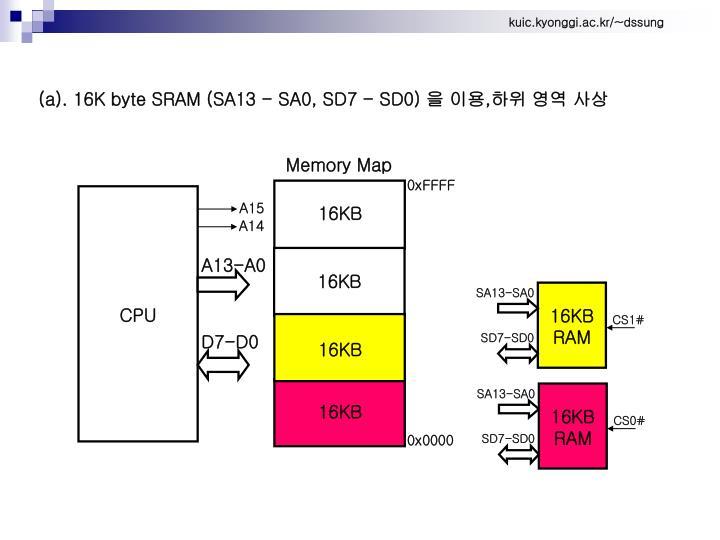 (a). 16K byte SRAM (SA13 - SA0, SD7 - SD0)