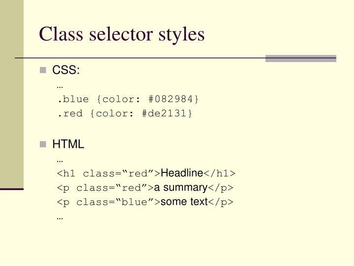 Class selector styles