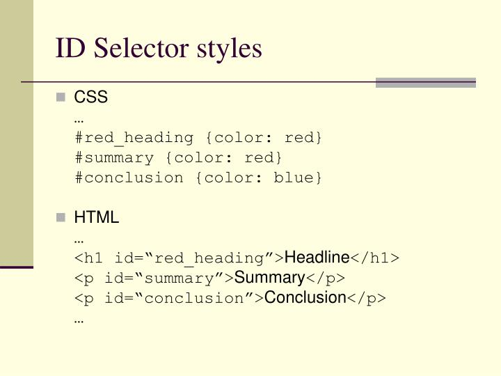 ID Selector styles