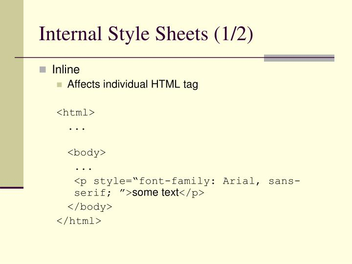 Internal Style Sheets (1/2)