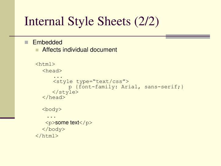 Internal Style Sheets (2/2)