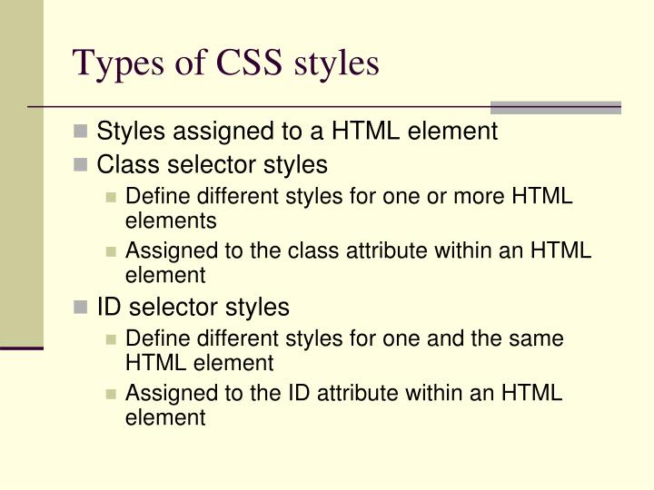 Types of CSS styles