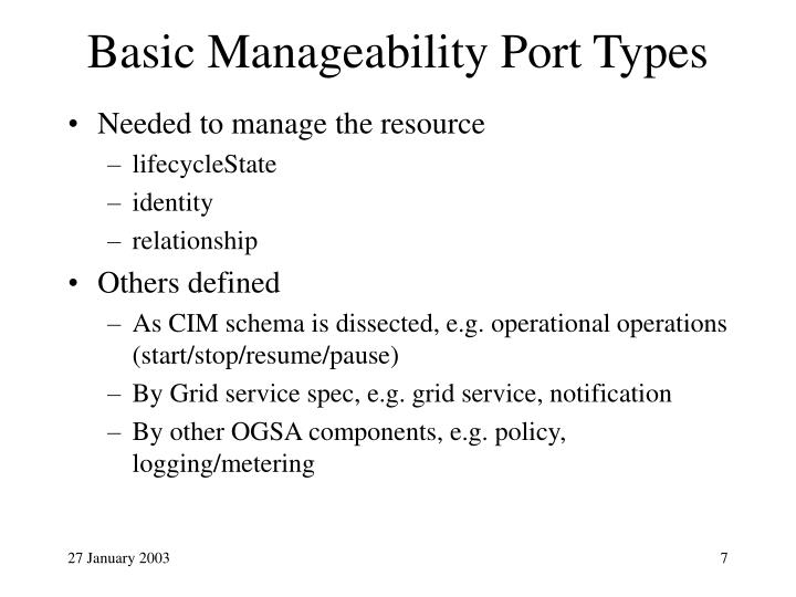 Basic Manageability Port Types