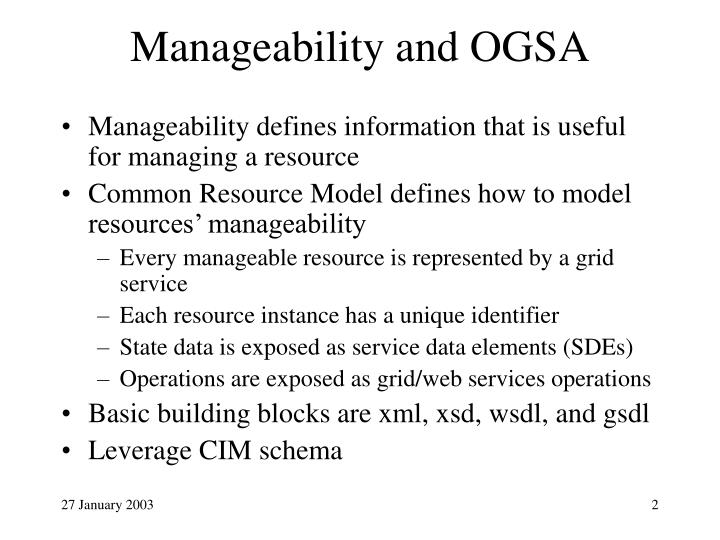 Manageability and ogsa