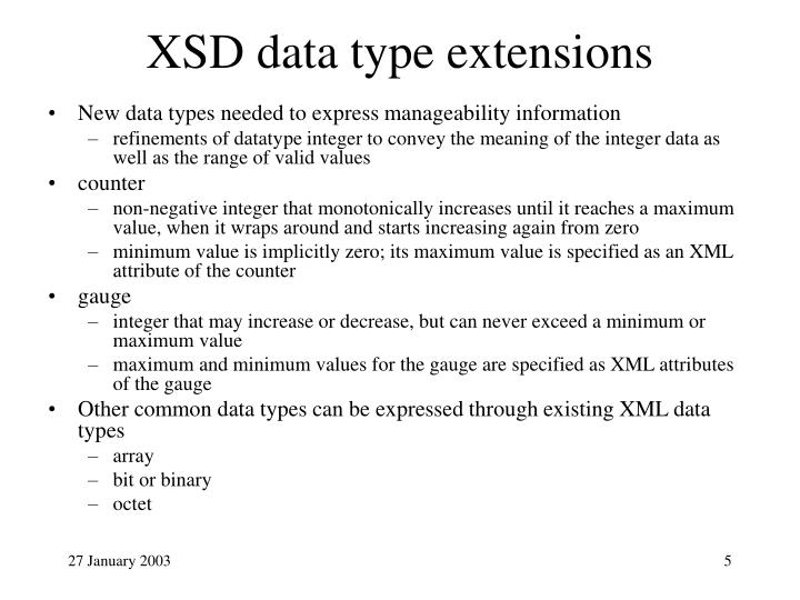 XSD data type extensions