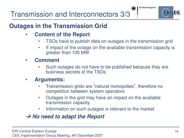 Transmission and Interconnectors 3/3