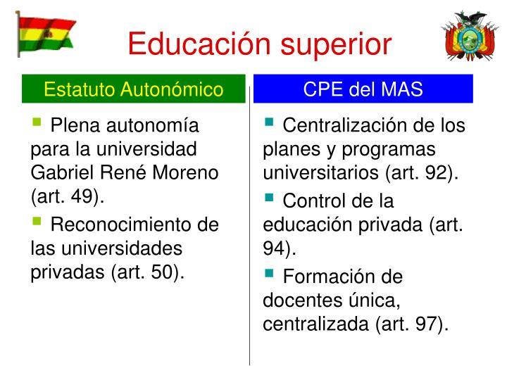 Plena autonomía para la universidad Gabriel René Moreno (art. 49).