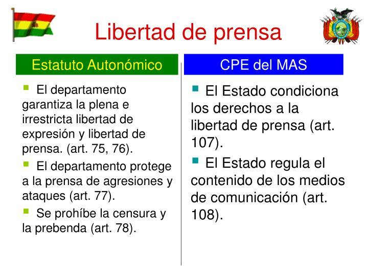 El departamento garantiza la plena e irrestricta libertad de expresión y libertad de prensa. (art. 75, 76).